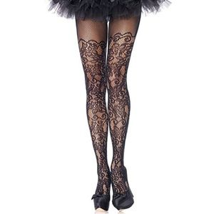 Baroque Lace Netted Pantyhose Tights Floral Black